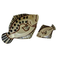 Ahna Iredale, Rare Bird Pottery Fish Serving Dish and Canapé Plate Hand Made
