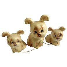 Adorable Maltese Shih Tzu Chain Doggies Rare Vintage Dog Figurines