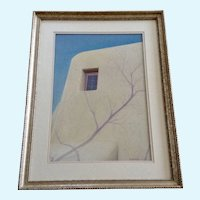 Rick Parachini, Window of a Southwestern Adobe Home Mixed Media Painting