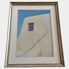 Rick Parachini, Window of a Southwestern Adobe Home Mixed Media Painting Signed by Artist