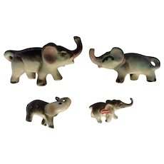 Herd of Elephants Trunk Up Bone China and Porcelain Miniatures Group of Animal Figurines