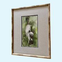 Wesley A Fox, Siamese Cat in Grass Original Watercolor Painting