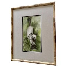 Wesley A Fox, Siamese Kitty Cat in Grass Original Watercolor Painting Signed by Artist 1970