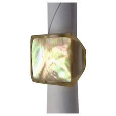 Vintage Lucite Abalone Mother of Pearl Ring Size 6