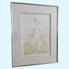 L Stone, Polar Bear Walking In Meadow of Wildflowers, Signed by Artist