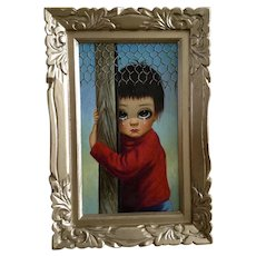 Crying Big Eyed Boy Clutching Wood Beam Oil Painting on Canvas