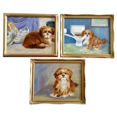 D. L. Sears, The Three Faces of Cindy Shih Tzu Puppy Dog Oil Paintings Signed by Artist