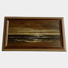 Greg S Hill, Seagull Flying Over Ocean Waves, Seascape Oil Painting Signed by Nantucket Artist