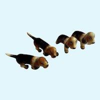 Vintage Basset Hound Dog Figurines Bone China Miniatures
