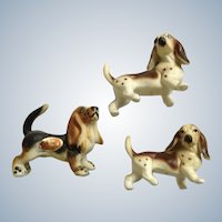 Vintage Basset Hound Dog Figurines Bone China Miniatures