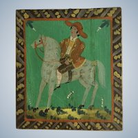 German Folk Art Man Riding a Horse Equestrian Oil Painting on Wood Plank Wall Plaque
