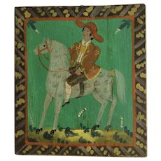 German Folk Art Man Riding Horse Equestrian Oil Painting Wood Plank