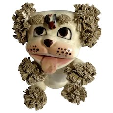 Mid-Century Lefton Spaghetti Dog With Bee on Forehead Ceramic Figurine
