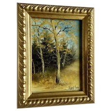 Joseph Boon, Autumn Aspen Trees Small Oil Painting on Board Signed By Listed Artist
