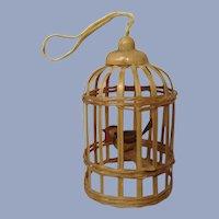 Miniature Bamboo Birdcage with Wooden Bird Christmas Dollhouse