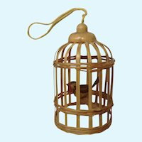 Miniature Bamboo Birdcage with Wooden Bird Christmas Dollhouse