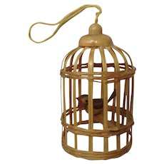 Vintage Miniature Bamboo Birdcage with Wooden Bird Christmas Tree Ornament or Dollhouse Diorama