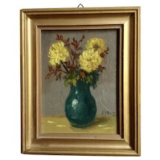 Yellow Mums Chrysanthemum Floral Still Life Oil Painting Signed by Artist