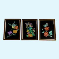 Eleanor Percey, Reverse Glass Foil Painting Silhouette of Flowers 1970's