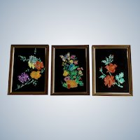 Eleanor Percey, Vintage Reverse Glass Foil Painting Silhouette of Flowers and Bouquet Three Framed Pictures 1970's