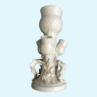 Rare Belleek Ireland White Thistle Flower Bud Vase Parian China (1926-1946)