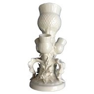Rare Belleek Ireland White Thistle Flower Bud Vase Parian China Reg No 0857 Third Period Black Mark (1926-1946)