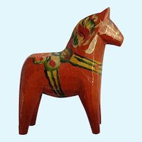 Dala Horse Folk Art Sweden Signed Mid-Century Small Wooden Hand Painted Not Dipped