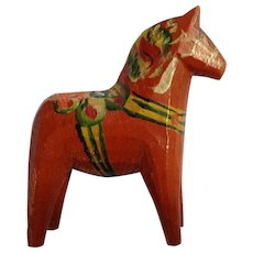Mid-Century  Small Dala Horse Signed Sweden Wooden Hand Painted Folk Art Not Dipped