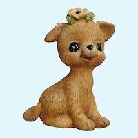 Vintage Flower Puppy Dog Bisque Figurine George Good