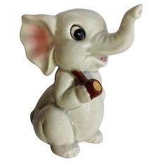Norcrest Figurine Sitting Elephant Smoking a Pipe Ceramic Animal Japan