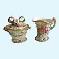 Fitz & Floyd Woodland Spring Creamer and Covered Sugar Bowl Classics