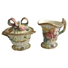 Fitz & Floyd Woodland Spring Creamer and Covered Sugar Bowl Classics Flowers, Insects and Foliage