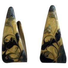 Wrapped Triangle Enamel Stud Post Earrings for Pierced Ears