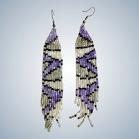 Dangling Southwestern Beaded Earrings with Fishhooks for Pierced Ears Vivid Sparkle Lavender Color