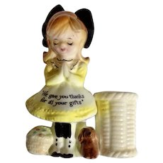 Enesco 'We Give You thanks,' Girl in Yellow Dress Black Bow with Puppy Dog and Baskets Toothpick Holder Ceramic Figurine