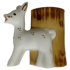 White Deer Porcelain Toothpick Holder Made in Occupied Japan