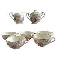 Lithophane Geisha Teacups with Cream and Sugar Bowl Mount Fuji Village Hand Painted KCN1 by King China