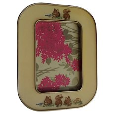 """The Bucklers Inc. Peter Rabbit Enamel Frame 3 x 5"""" Hand Crafted U.S.A. Fifth Avenue, New York Baby Bunnies and Blue Birds"""