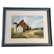 Old Barn With Pigeons Flying Around Rural Countryside Original Watercolor Painting