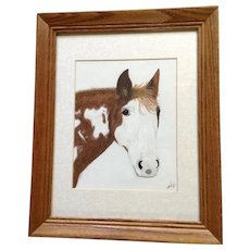 Teresa Wood, Horse Portrait Mixed Media Painting Signed By Artist