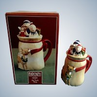 Lenox Toy Sack Mug Rudolph The Red Nosed Reindeer and Elves Retired 2002 Ceramic Christmas Cup & Lid