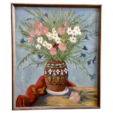 Micko, Mid-Century Indian Pot Floral Still Life Oil Painting on Board Signed by Artist