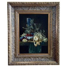 Berend Dam, Fruit and Wine Glasses Still Life Oil Painting on Wood Plank Signed by Artist