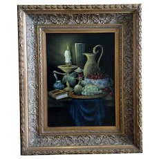 Berend Dam, Candlelight Table Setting Still Life Oil Painting on Wood Plank Signed by Artist