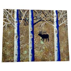 Davey Sue Thomas 'Davie', Titled The Beginning, Elk in Woods Acrylic Painting Signed By Artist on Back