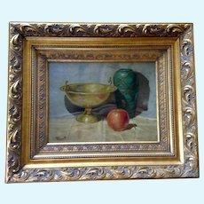 Merritt, Apple, Green Vase and Gold Bowl Still Life Oil Painting