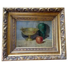 Merritt, Apple, Green Vase and Gold Bowl Still Life Oil Painting on Canvas Board Signed by Artist