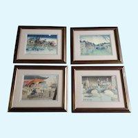 Tokuriki Tomikichiro Japanese Woodblock Prints 4 Seasons of Tokyo