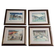 Tokuriki Tomikichiro Japanese Woodblock Prints Framed 4 Seasons of Tokyo Temple Asakusa, Niju-bashi, Shinobazu Pond, Nihon-bashi Bridge