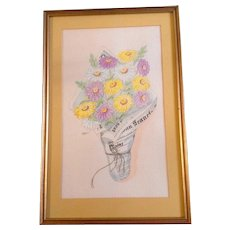 Virginia Lee, Watercolor Painting and Pen and Ink Works on Paper, San Francisco Chronicle Bouquet of Daisy Flowers Original